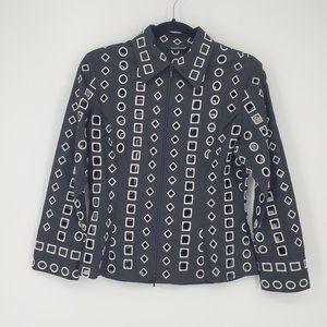 Samuel Dong Embroidered Geometric Full Zip Top